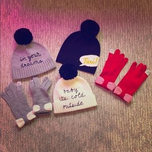 Kate Spade Beanies and Tech Gloves set